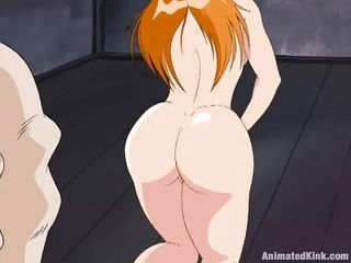 Sexy redhead takes her skirt off and starts fingering her wet cunt. Her master has a big sword in his hands and wants to punish her if she doesn`t squeeze that tits harder. He sees her bubble butt and gets really turned on. He sticks his big dick inside her wet pussy from behind. Is she going to cum soon?