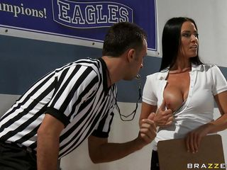 Vanilla DeVille is the girls basketball coach. Keiran is the ref, who keeps getting distracted by her big tits. Vanilla's team wins, and Keiran says they should be disqualified for cheating. He's going to report her, but she gets those jugs out again and all thoughts vanish.