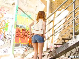 Slutty redhead teen Carol is in a public place but gets her clothes off, one by one. She enjoys showing off her bubble butt and driving men crazy with her tight body. Then, the bitch goes down on a man, sucking his big cock hard. Do you think this is enough for this whore or maybe she needs some more?