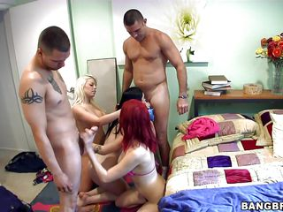 These lucky guys are having the greatest group fuck ever happened with these sexy notorious Caucasian babes - blonde Britney Amber, brunette Sasha Sweet and black haired French babe Angell Summers. They got these two big cocks in one room and they filled their pussy and mouth with these cocks again and again till they cum!