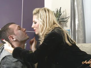 This hot slut takes off her clothes and we can see that she has a strap on dildo which she uses to fuck this guy in the mouth. Look at her so bossy, she enjoys fucking this guy but will she enjoy getting fucked by him? Stick around and watch if the situation will turn in his favor.