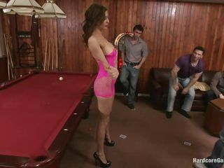 Princess Donna acted like a real slut and now the boys treat her like one. They've grabbed her, knelt the bitch and started mouth fucking her hard and deep. She's on the floor now and the fun just began! Look at those sexy legs and pretty face, she won't get away to easily and deserves what's happening to her