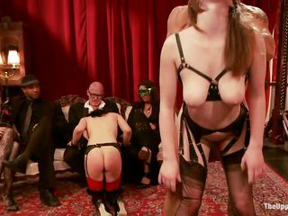 Fucking sluts enjoy being totally dominated by their mistress and mysterious men at a private party. One of them has her tits tortured, while the other sucks a big hard cock very deep. A sexy waitress brings some new toys for the bitches. Till then, the brunette keeps sucking with her head upside down!
