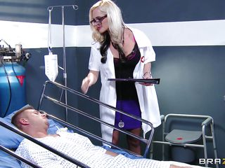 Dr. Alena Croft comes in to check on her patient Bill Bailey. He's not feeling well so she waves her ass in his face to see if that helps. He needs more medicine in the form of a good fucking. She climbs on his bed and wraps her pussy lips around his aching cock.