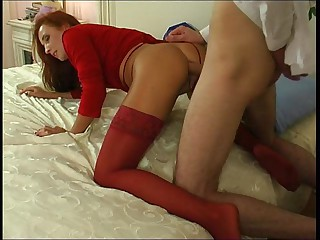 Salacious chick in red stockings surrenders to breathtaking anal assault