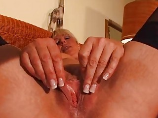 Mature blonde enjoys her own body - DBM Video