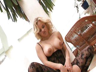 Incredibly hot blonde fucks in nice lingerie