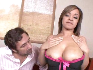 He sucks on her sexy natural tits