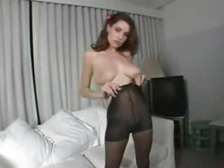Pantyhose fetish play with busty natural beauty