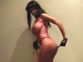 Fishnet body stocking on pink lingerie babe